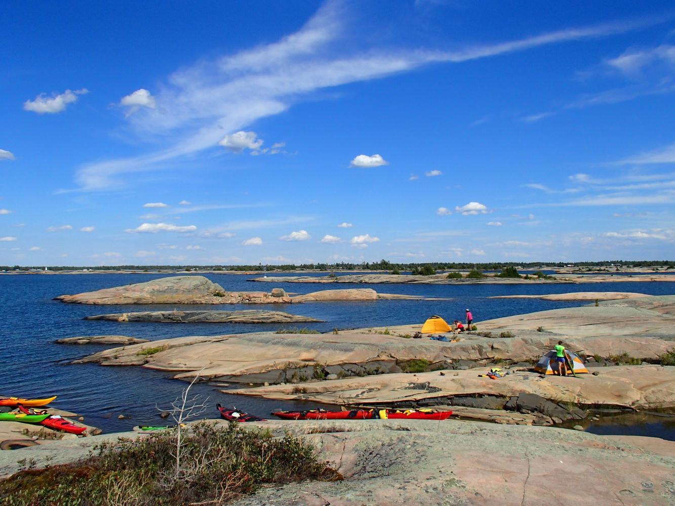 campement sur les iles